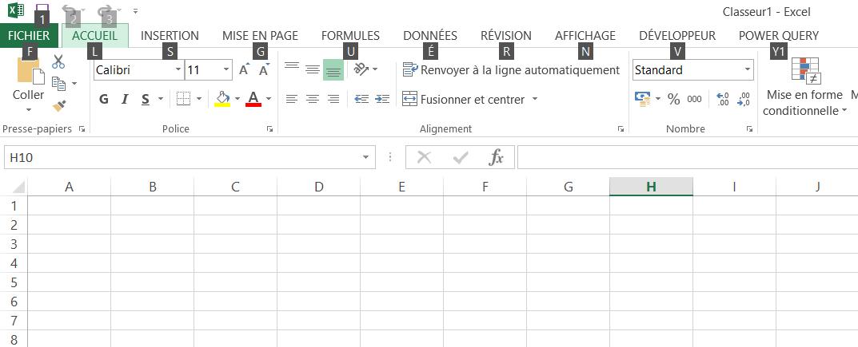 Touches d'accès rapide et le ruban Excel